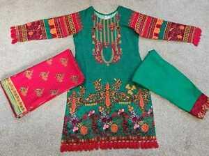 New Pakistani Indian Green Marina Shalwar Kameez Stitched suit 3 piece suit Gift