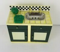 Dollhouse Miniature 1:144 Scale Kitchen Cabinet with Dishes Hand Painted Metal