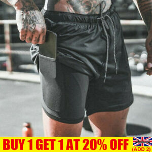 Mens Sports Gym Running Shorts Dual Layer Drawstring Quick Dry With Pocket Pants