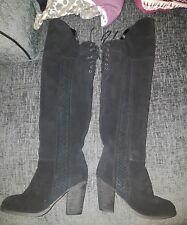 moda in pelle garone over knee boots black suede uk 5