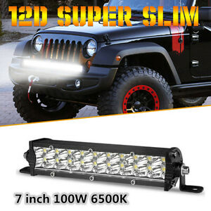 7inch 12D 100W Slim LED Work Light Bar Spot Beam Dual Row Offroad Truck ATV SUV