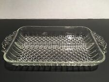 Vintage Cut Glass Divided Relish Tray with Handles- Hobnail Pattern