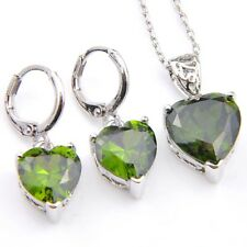 Love Heart Jewelry Set Natural Olive Peridot Gems Silver Dangle Hook Earrings