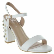 Womens Ladies Ankle Strap Block Heel Strappy Open Toe Sandals Party Prom Shoes
