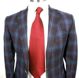 SARAR PLATINUM ZIGONE WOOL MULTI COLOR  BLUE PLAID TWO BUTTON 38 Reg Slim Fit