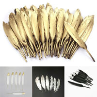 "10PCS 4-6"" Plated Natural Goose Feather Party Home Ornaments DIY Making Craft"