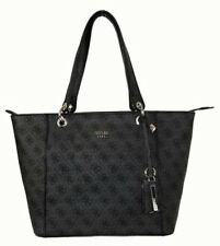 "GUESS ""KAMRYN"" Black Signature Faux Leather (PVC) Tote Bag Msrp $98.00"