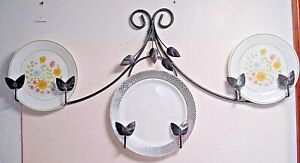 vtg Wrought Iron wall hanging Plate display Rack silver pewter color leaf scroll