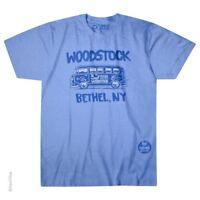 WOODSTOCK-BETHEL BUS-50 YEARS-PEACE LOVE AND MUSIC-1969-BLUE TSHIRT M L,XL,XXL