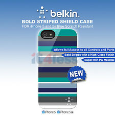 Belkin Bold Striped Shield Case for iPhone 5 and 5s  Blue Scratch Resistant Slim