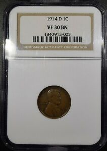 """1914-D Lincoln Wheat Cent """"NGC VF30 BN"""" *Free S/H After 1st Item*"""