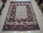 4'3 x 6'6 Handmade afghan tribal herat adraskan pictorial unique area kilim rug