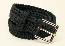 Paracord Survival Belt - Black with Nickle Buckle - XXL