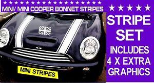 MINI/ MINI ONE/ MINI COOPER BONNET 4X STRIPES VINYL GRAPHICS/ DECALS STICKERS