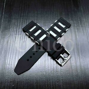 20 - 26 MM Soft Rubber Black Sport Diver Watch Band Strap Fit For INVICTA Bullet
