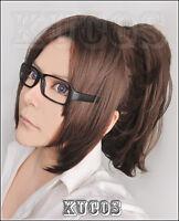 Attack on Titan Hanji Zoe Dark Brown Wig +Free Glasses for Cosplay Costume #g072
