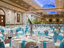 "50 Blue Turquoise Satin Chair Cover Sash Bows 6"" x 108"" Banquet Wedding Decor"