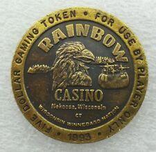1993 Rainbow Casino $5.00 Brass Gaming Token  Nekoosa, WI   Has Eagle On It