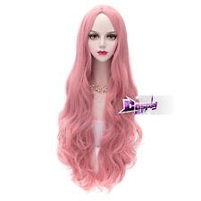 80CM Milkshake Pink Long Curly Hair Hairpiece Wigs Anime Cosplay  Wig + Cap