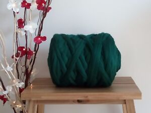 Bottle Green* Merino Wool Roving Giant Yarn Extreme Arm Knitting 100 g - 1 kg