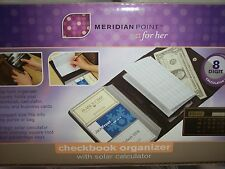 CHECKBOOK ORGANIZER, MERIDIAN POINT ,Black,Solar Calculator, Snap-lock