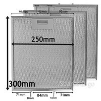 3 x UNIVERSAL Silver Cooker Hood Grease Filter Metal Mesh Filters 300 x 250 mm