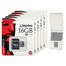 Lot of 5 Kingston 16GB Micro SD SDHC Class 4 microSD Flash Memory Card + CASE