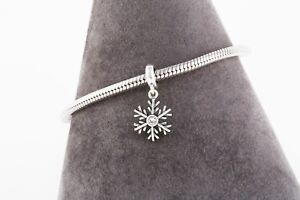 Silver Snowflake Pendant Charm for Bracelet or Necklace, Delicate Silver Charm