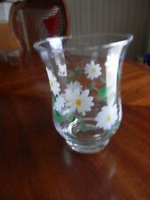 6 Inch Glass Painted Daisies Candle Pillar Holder Hurricane