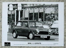 ROVER MINI 1.3 SPRITE Car Black & White Press Photo 1991-92 #RH/0492/183
