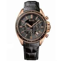 Hugo Boss HB 1513092 Driver Sport Chronograph Black Leather Strap Men's Watch