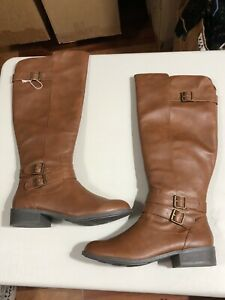 American Eagle Women's Knee High Strap Double Buckle Brown Riding Boots 9.5