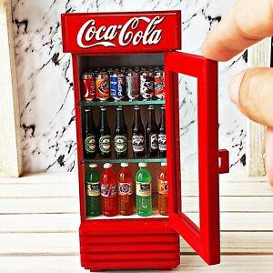 Dollhouse Miniature Furniture Cabinet Wooden Wood Coca-Cola Coke Showcase Decor