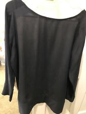 Silk Top Long Sleeve Black with White Back Penguin 14 loose cut