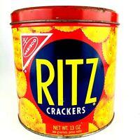 Vintage Ritz Nabisco Cracker Round Tin Canister 1977 13 oz Advertising MI693