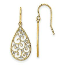 Fancy Dangle Wire Earrings In Real 14k Yellow Two Tone Gold 1.29gr