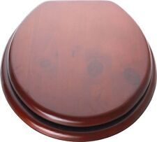 Traditional Look Wood Effect Toilet Seat Made From Solid Pine - Mahogany Brown