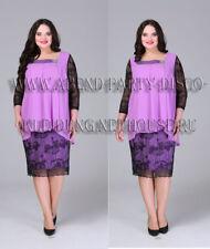 Abendkleid Big Size Gr.50,52,54,58,60 Farbe Lila mit Schwarz