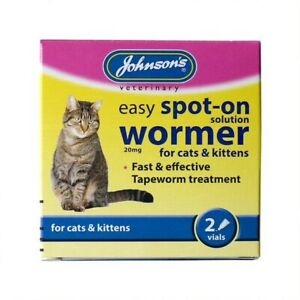 JOHNSONS CATS & KITTENS SPOT ON EASY WORMER TAPEWORM WORMING SOLUTION