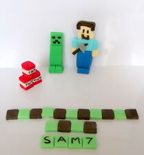 HANDMADE EDIBLE MINECRAFT (STYLE) CAKE TOPPER SET