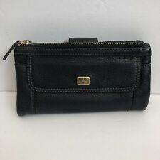 Fossil Black Suede & Leather Zipped Snap Clutch Wallet