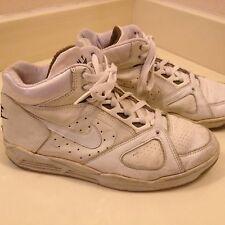 Vintage 1991 Nike Air Flight Jordan Leather Basketball Shoes White Blue Size 8.5