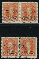 Scott O236 Position E and F: 8c King George VI Mufti 4-Hole OHMS Perfin in pairs