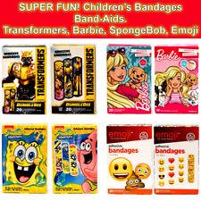 Kids Bandages Adhesive Band Aids Barbie Transformers SpongeBob Emoji Lot of 4