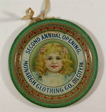 1907 MONARCH CLOTHING STORE TIN LITHOGRAPH ADVERTISING TIP TRAY BLONDE GIRL TRAY