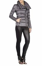 NEW BCBG MAXAZRIA SILVER GREY LILY QUILTED DRAPED COLLAR COAT 10818BM/S535A SZ S