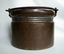 Vintage Antique Copper Pot Cauldron w/ Forged Iron Handle, Hand Made Hammered