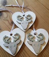 3 X Reindeer Stag Christmas Decorations Shabby Chic Wood Heart Silver White