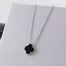 Necklace Pendant Short Lucky Clover Silver Stainless Steel Agate Black 14mm TRB1