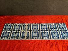 Historische Fliesen 7 x Bordüre um 1850 florale Blaumalerei Muster Kacheln #15
